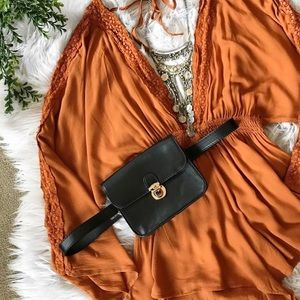 Burnt orange cut-sleeve long sleeve romper